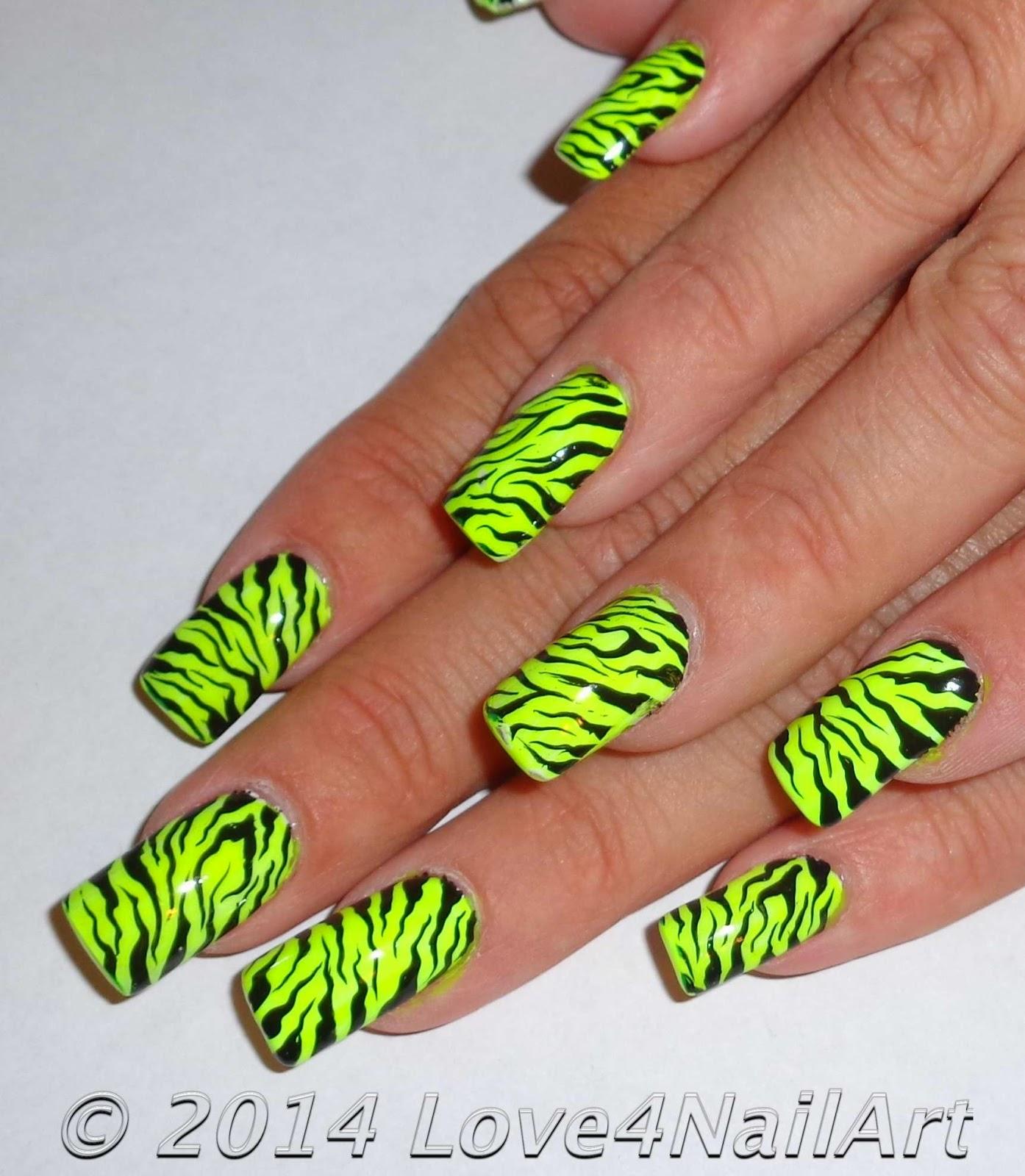 Love4NailArt Neon Yellow Zebra Nails (seen a mile away!)