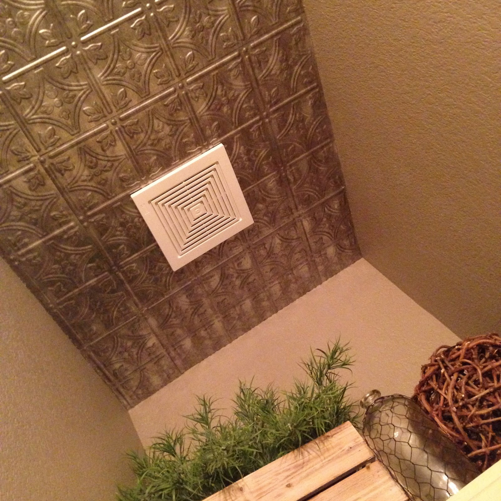Your Little Birdie: New Powder Room with Tin Ceiling