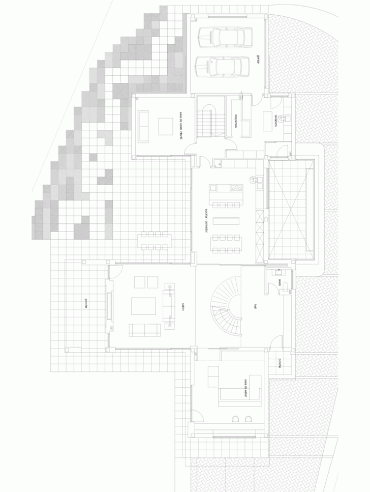 Ground floor plan of Modern home by Foraster Arquitectos