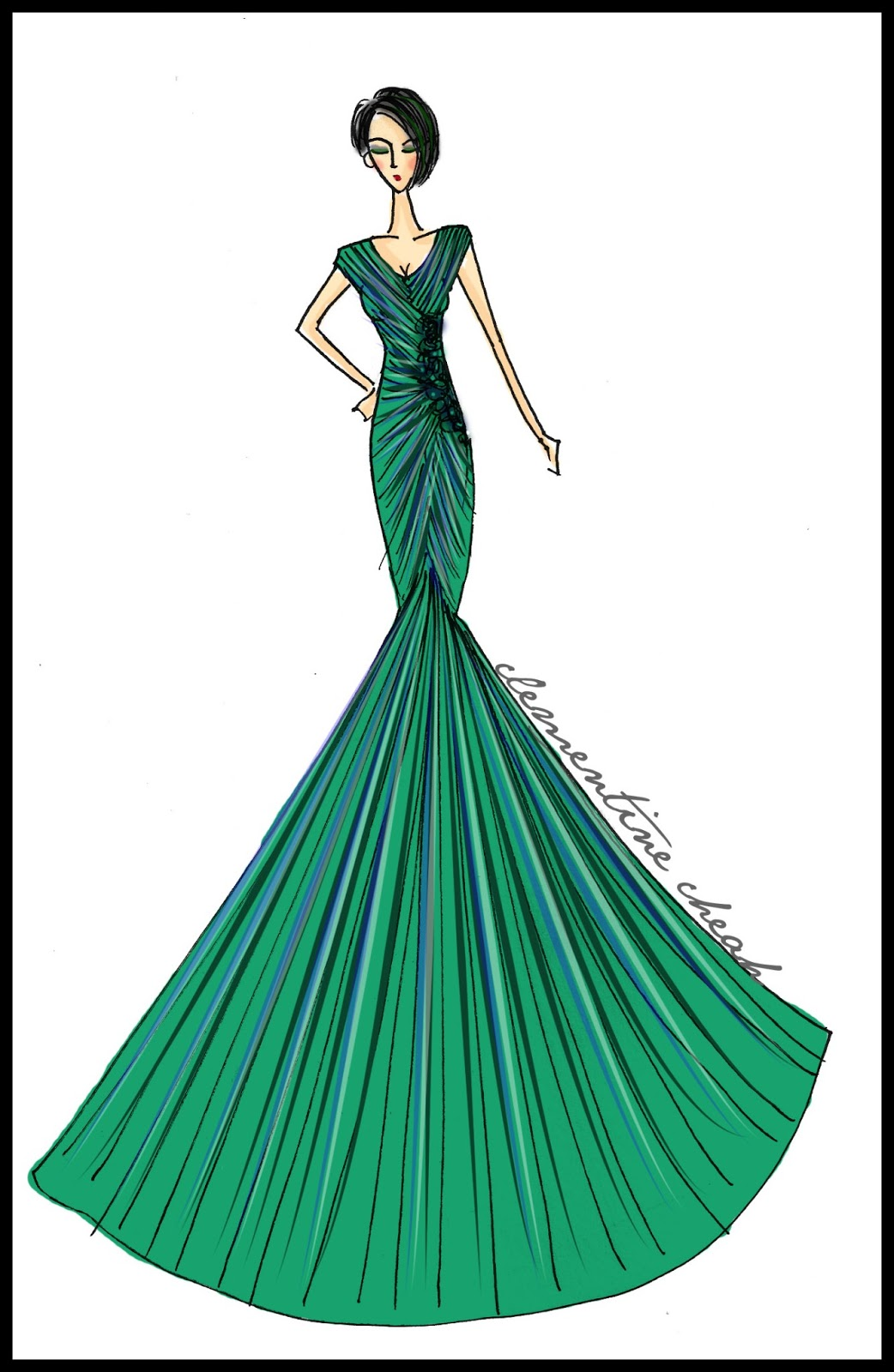 Clementine Cheah: Fashion Illustration : Green Evening Gown Sketched ...