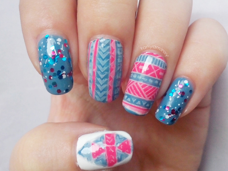 Tribal Stamping Decals + Glitter Nails