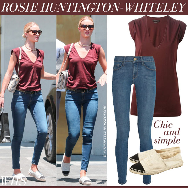 Rosie Huntington-Whiteley in dark burgundy isabel marant frea t-shirt, blue skinny frame denim jeans and Chanel espadrilles what she wore june 20 streetstyle
