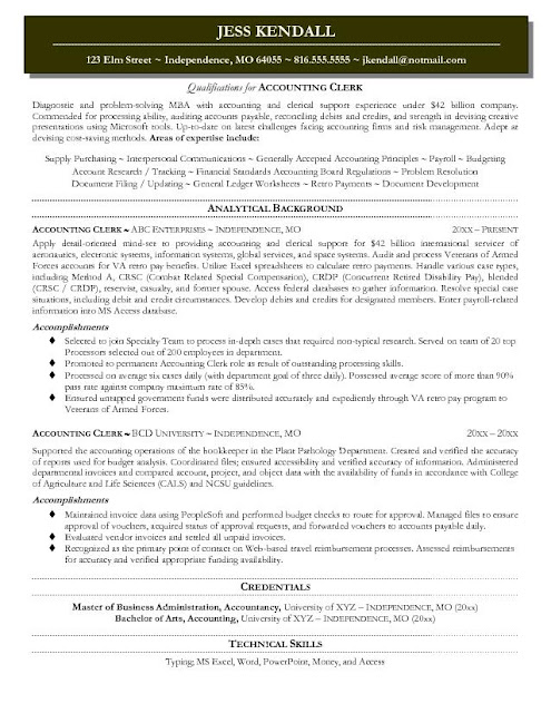 accounting clerk resume samples - Accounting Clerk Resume