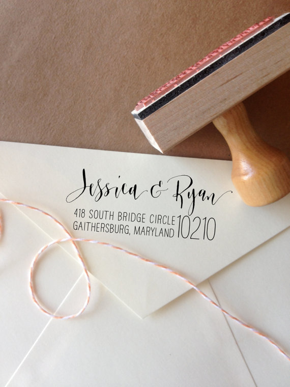Beautiful Bridal Calligraphy Return Address Stamps