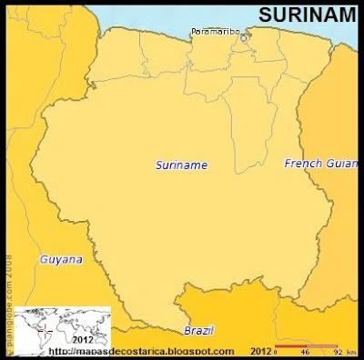 Mapa de SURINAM, (PLANIGLOBE)