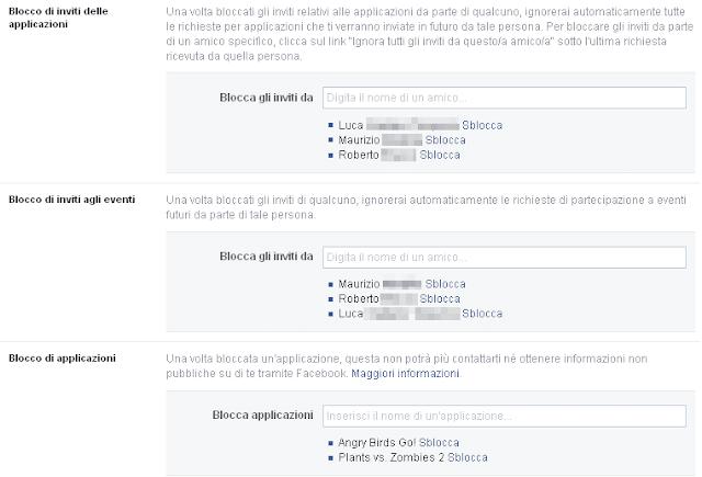 Facebook Gestisci i blocchi
