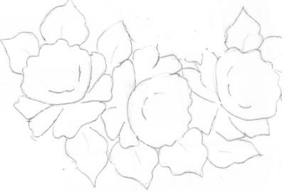 Pintura em Tecido- pano de copa risco rosas