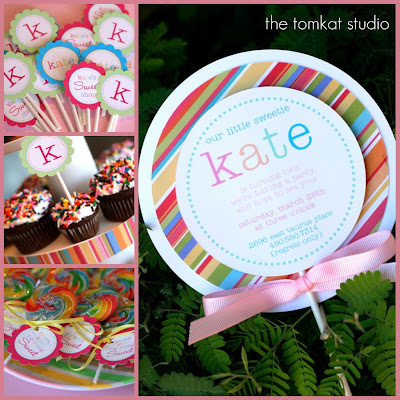 The tomkat studio birthday parties kates yummy lollipop party shown above yummy lollipop invitations more info from my previous post here i also designed cupcake toppers 3 versions kates sweet shop k filmwisefo