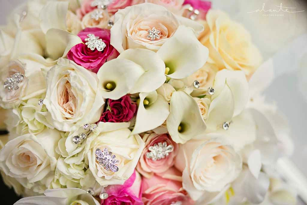 Four Seasons Hotel Seattle wedding, bouquet jewels, bridal bouquet with bling