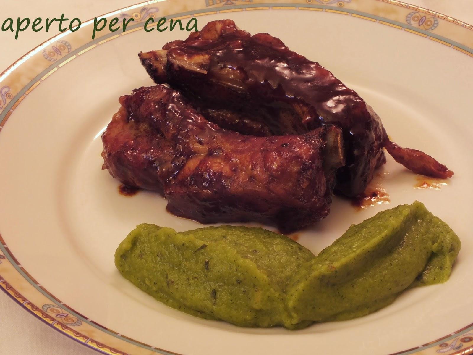Aperto per cena costine di maiale glassate e purea di zucchine - Cosa cucino oggi a cena ...