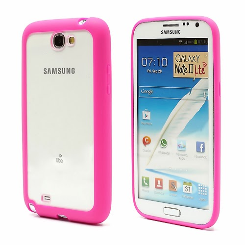 Hybrid Case : TPU Edges and Transparant Back Case Samsung Galaxy Note 2 / II N7100 - Pink
