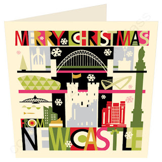 Christmas Card Newcastle and Gateshead Quays City Scape by Wotmalike