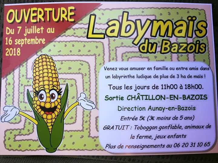 Labymaïs du Bazois ouverture du 07 juillet au 16 septembre