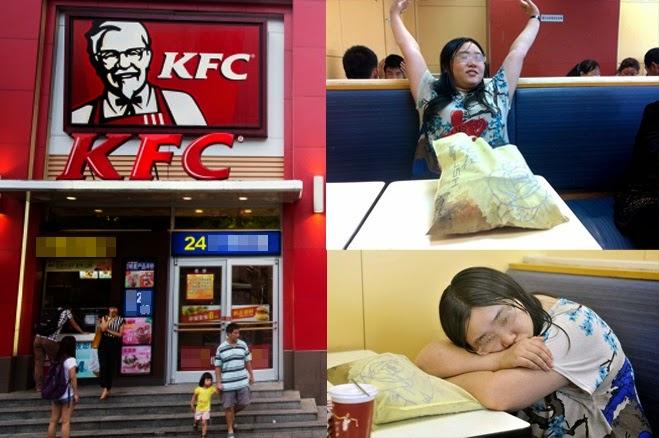 Akibat putus cinta wanita ini jadikan KFC rumah nya