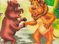 Fábula de Esopo el León y el Jabalí, fabulas cortas con moraleja