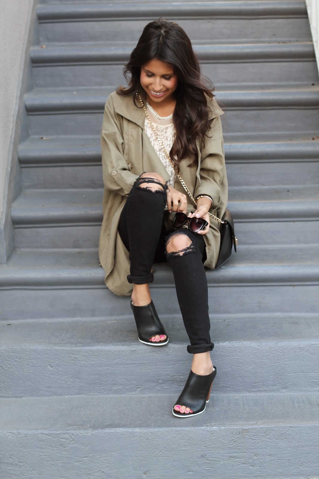 how to style mules, spring outfit, vince mules, j brand jeans, azalea sf