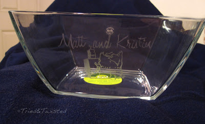 Bride & Groom's Custom Glass Etched Bowl   Tried & Twisted