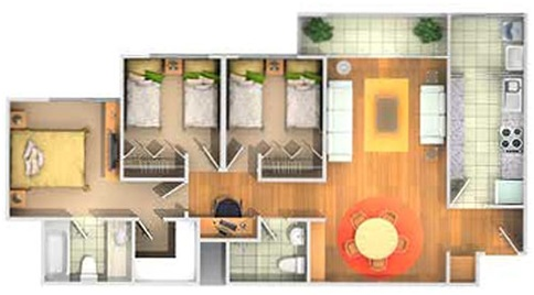 Floor Plans Of 3 Bedroom Apartment