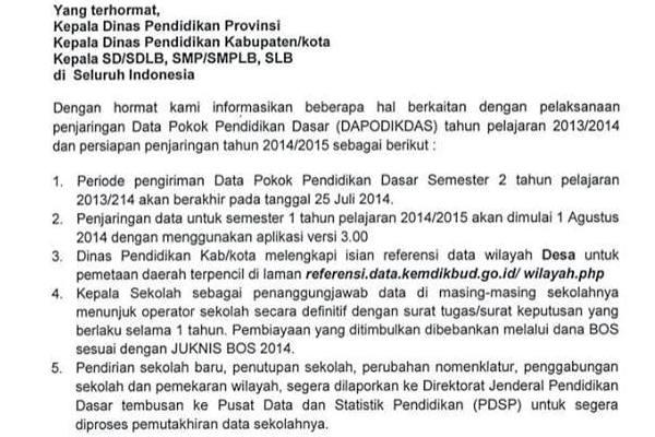 Informasi berkaitan dengan pelaksanaan penjaringan dapaodik tahun 2014/2015.