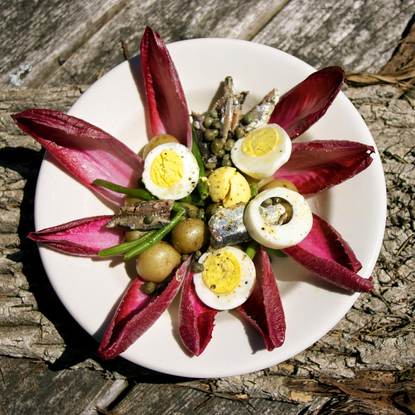 Endive Anchovy Nicoise Salad-- simplelivingeating.com