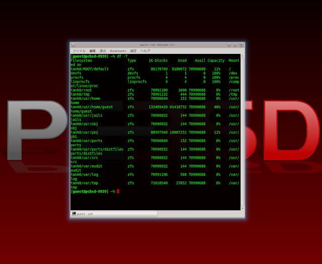 PC-BSD 9.1のファイルシステムを確認する方法。Konsoleでdf -Tと入力。