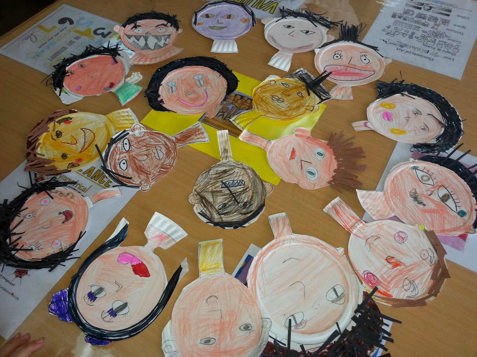 Our little ones made some self portraits out of paper plates and recycled paper. We had some very cute faces and some funny ones too. & Mrs.Berenice\u0027s Art Room: faces