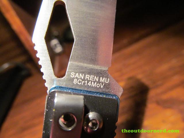 Sanrenmu B787 Pocket Knife - closeup of maker's mark
