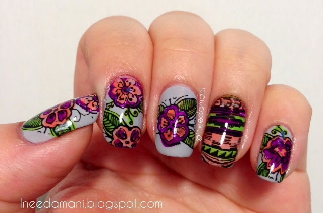neon tribal floral advanced nail stamping