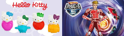 McDonalds Hot Wheels Battle Force 5 and Hello Kitty happy meal toy promotion in Australia and New Zealand 2011