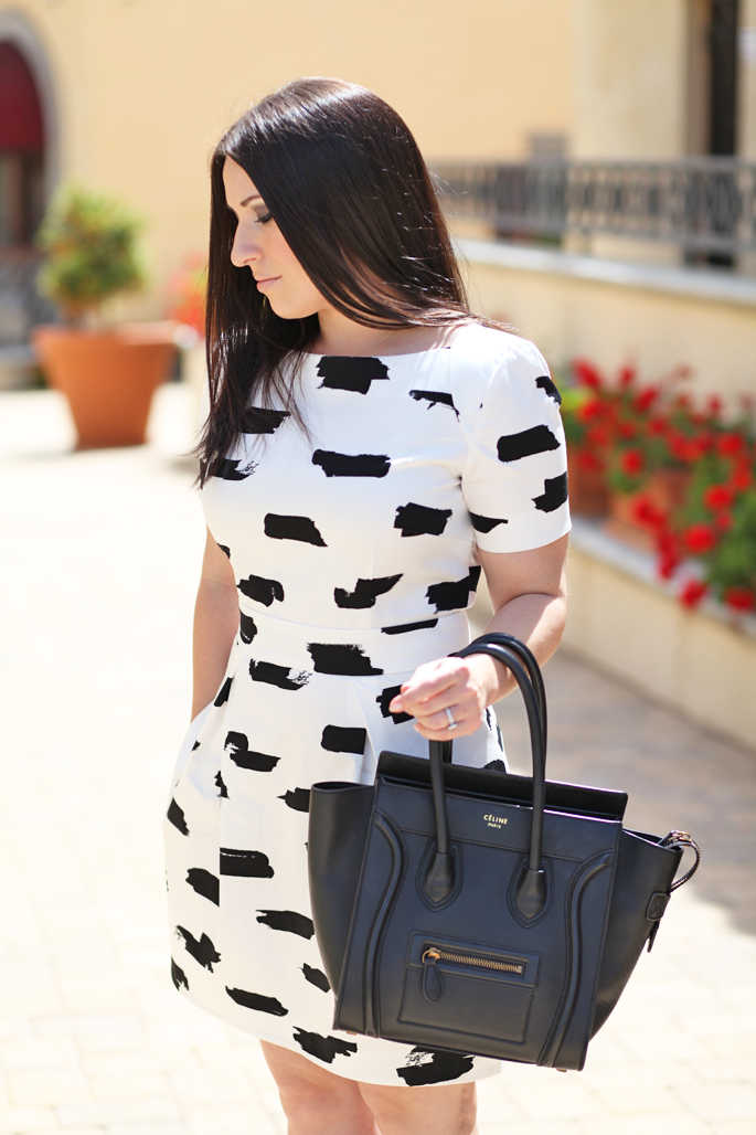 mac-creme-d'nude-black-and-white-french-connection-dress-king-and-kind-san-diego-blogger-celine-tote