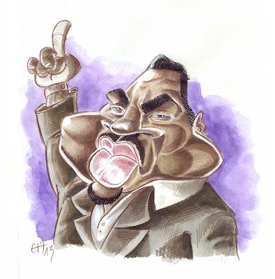 Caricature rapide aquarelle et crayon de Martin Luther King par Guillaume Néel