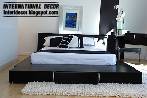 interior and architecture black and white bedrooms designs paint