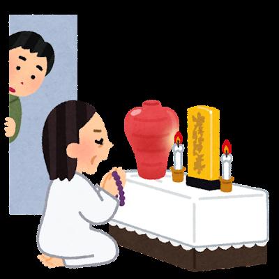 宗教儀式中の家族を見る人のイラスト