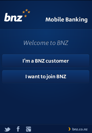 Ecran de souscription BNZ Mobile