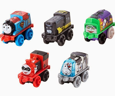 "San Diego Comic-Con 2015 Exclusive Thomas & Friends x DC Comics Super Friends Mini Vehicles - ""Dark Knight"" Edition Batman Diesel, Superman Thomas, Cyborg Spencer, The Joker D10 and Harley Quinn Millie"