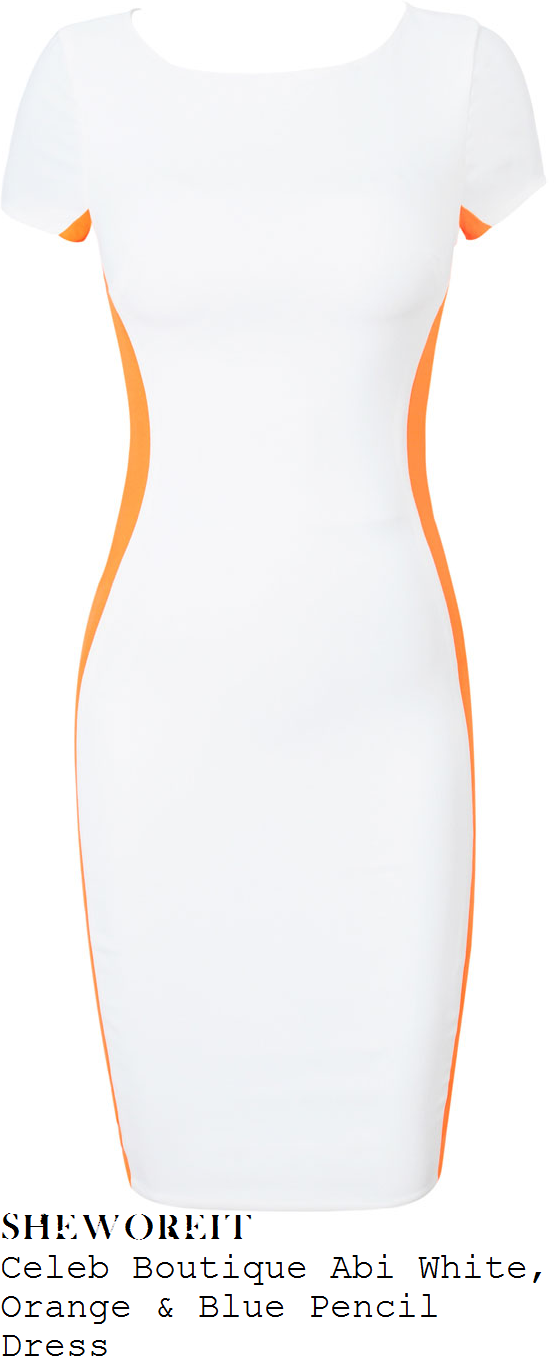 sam-faiers-white-and-orange-short-sleeve-pencil-dress