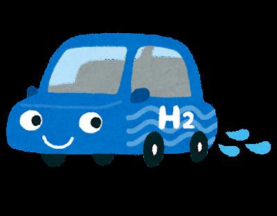 水を排出する水素自動車のイラスト