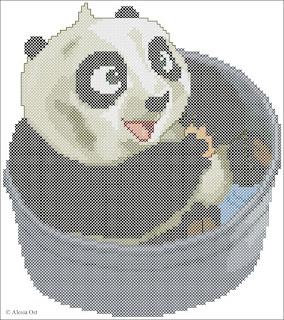 Baby Po. Baby Po taking a bath, Kung Fu Panda, cartoon, cross-stitch, back stitch, cross-stitch scheme, free pattern, x-stitchmagic.blogspot.it, вышивка крестиком, бесплатная схема, schemi punto croce gratis, DMC, blocks, symbols