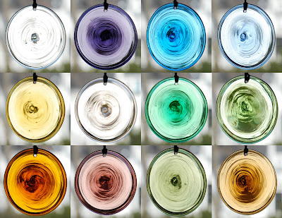 mouth-blown glass bullseyes or roundels by Szal Design
