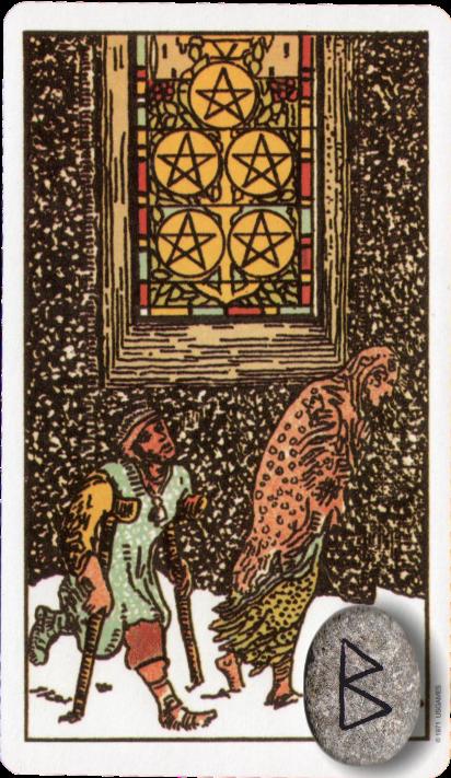 Original Rider Waite Tarot Five of Pentacles, Runes Berkano