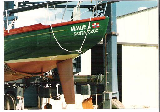She is a 34 foot cold molded wood double ender and is a nice sailing boat.