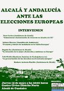 """Convocatorias. Mesa redonda: """"Alcalá y Andalucía ante las elecciones europeas""""."""