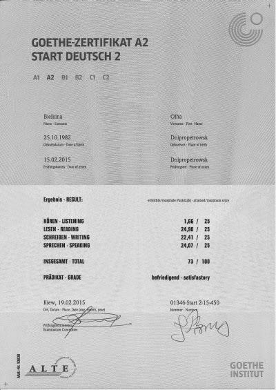 Куплю сертификат гете
