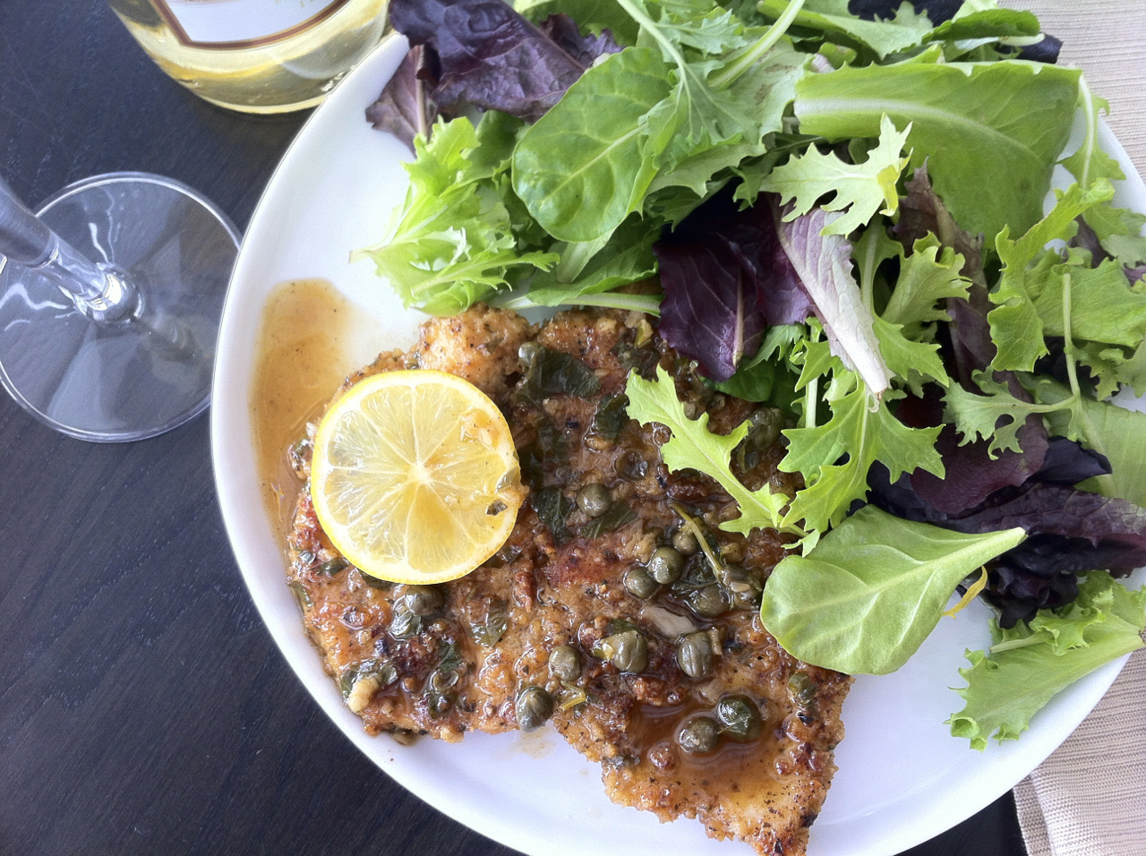 Breaded Chicken Piccata with Lemon Caper Sauce Closeup