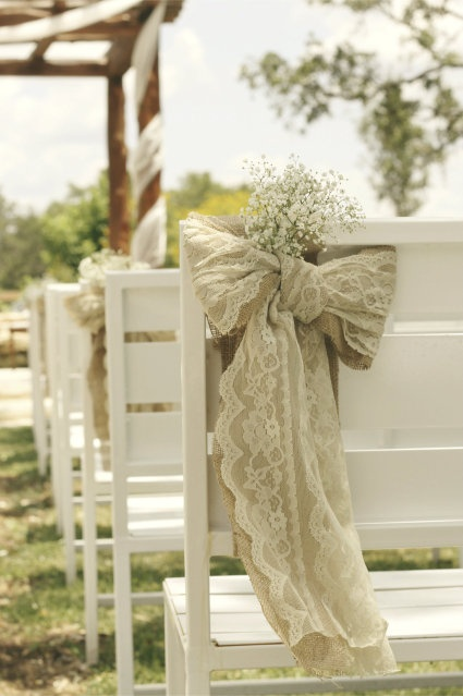 Southern color burlap lace chapel pew bows - Bow decorations for weddings ...