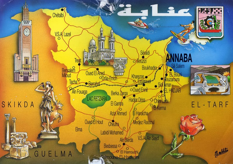 My POSTCROSSING collection Annaba Map ALGERIA