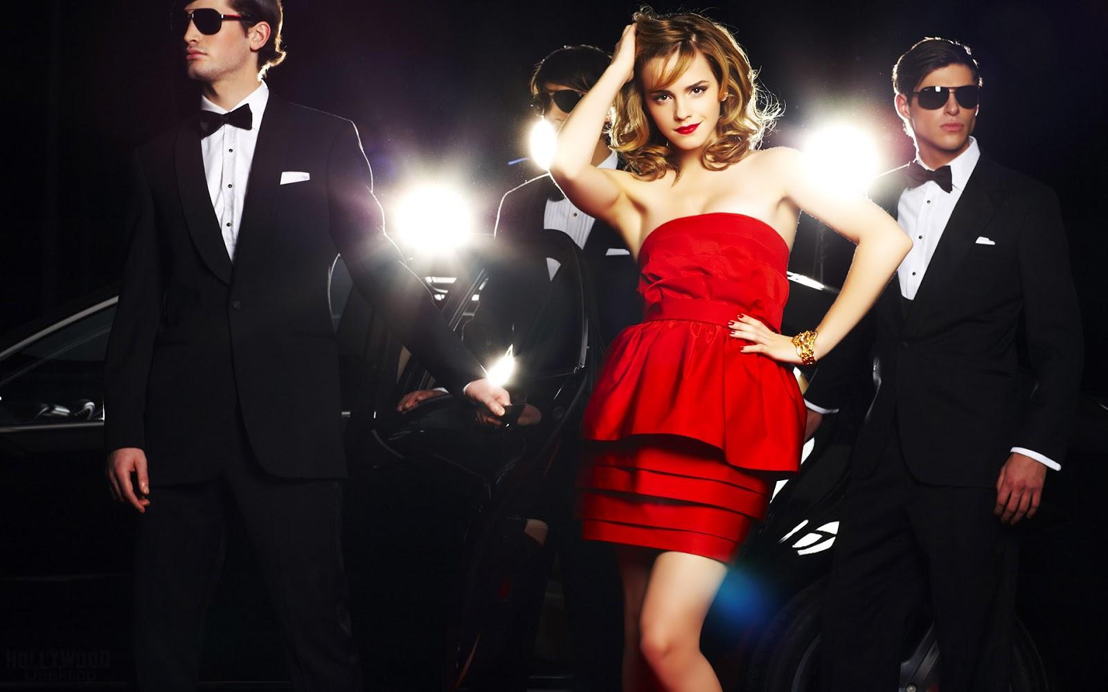 Hot Emma Watson Red Dress Wallpaper HD
