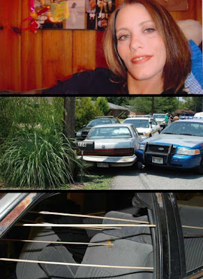 Caroline Small's (top): Her car was hemmed in by police cars and couldn't go anywhere (middle)... just before police rained bullets on her body and head as indicated by bullet trajectories (bottom).  A witness described seeing her head explode