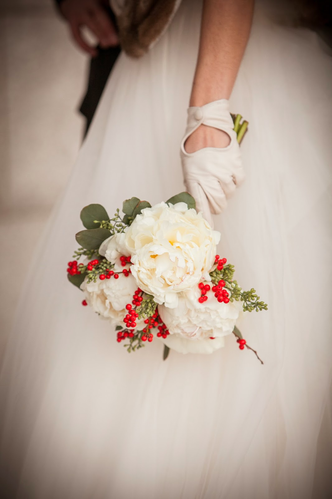 les fleurs : zev fisher photography : white peonies with red ilex berries : mink shrug : little white gloves