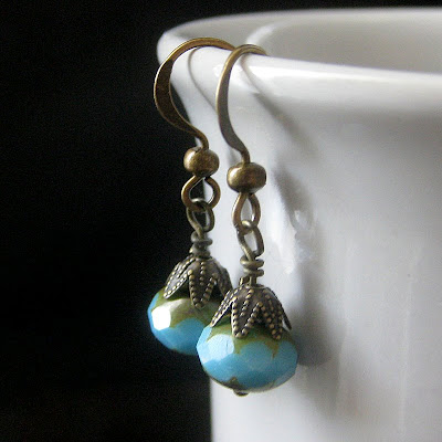 Vintage Inspired Turquoise and Bronze Earrings